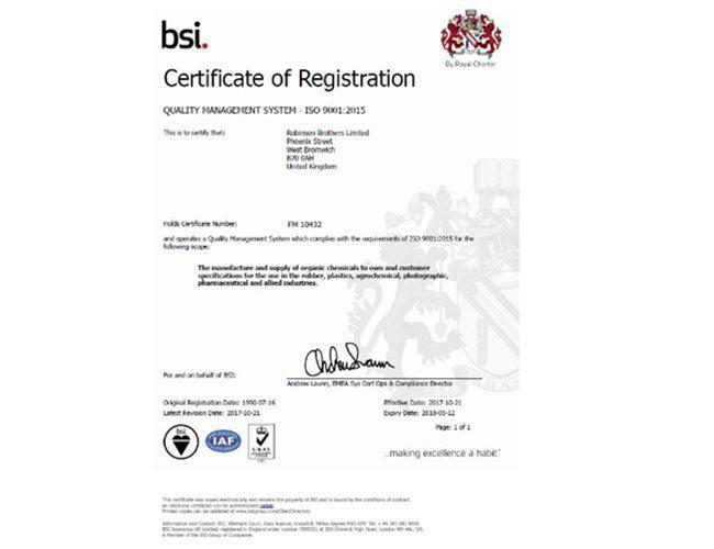 Robinson Brothers is now ISO 9001:2015 accredited